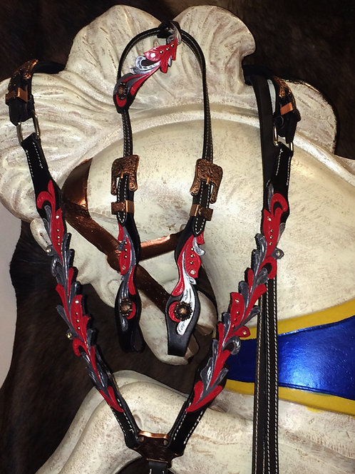 Red & Silver Scalloped Bridle Breast Collar