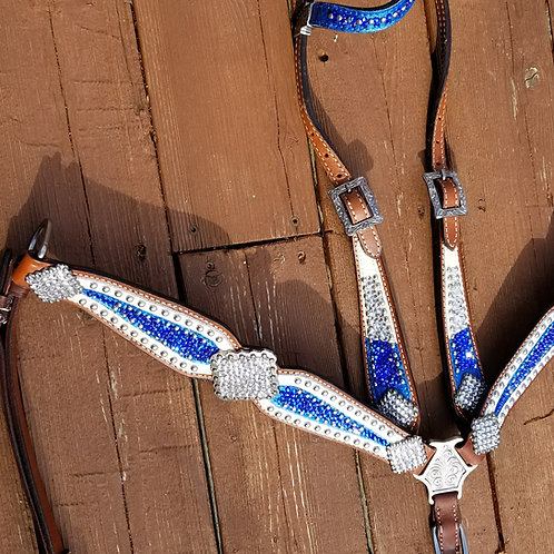 Sapphire & Clear Crystal White Bridle Breast Collar Reins  Set