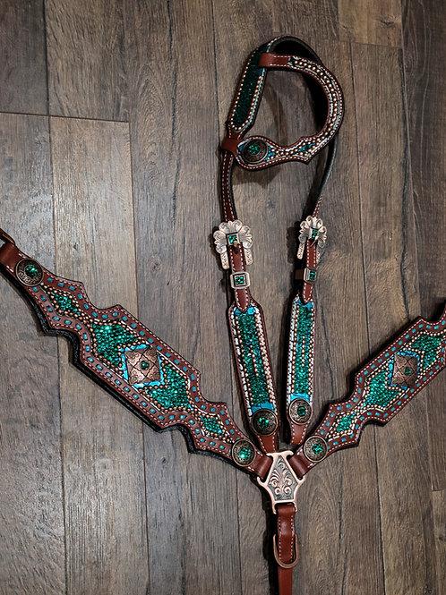 Emerald Green Crystal Bridle Breast Collar Reins Set