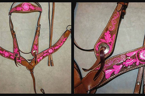 Pink Tooled Bridle Breast Collar Reins Set