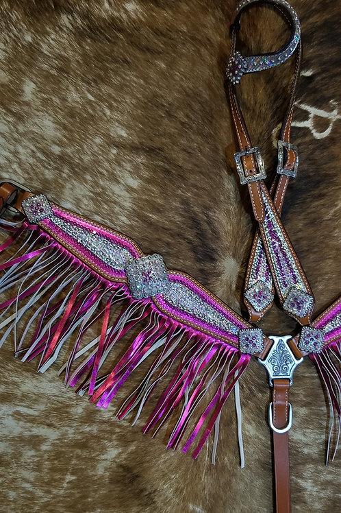 Pink & Clear Swarovski Crystal Bridle Breast Collar Reins Set w Fringe
