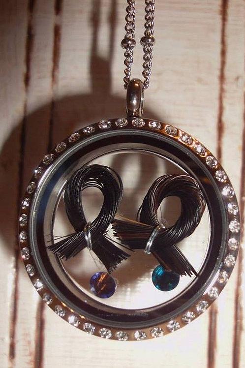 2 Horse Hair Ribbon Locket Swarovski Crystal