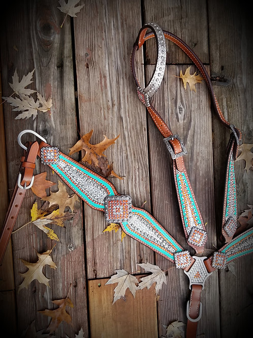 Mint Orange & Clear Crystal Bridle Breast Collar Reins Set