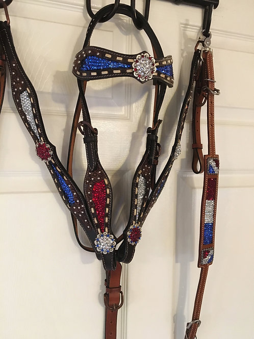 Red White & Blue Crystal Bridle Breast Collar & Wither Strap