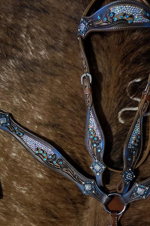 AB Crystal Inlay Bridle Breast Collar Reins Blue Crystals