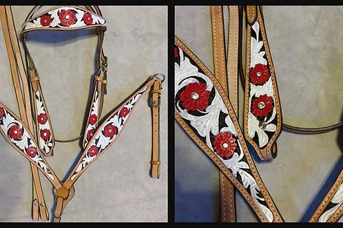 Red & White w Rim Set Crystal Bridle Breast Collar