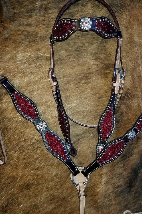 Red Swarovski Crystal Bling Bridle Breast Collar Set