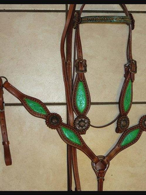 Lime w Copper Conchos Bridle, Breast Collar Reins