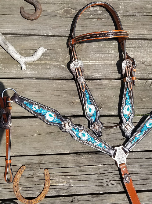 2 Tone Leather Clear & Turquoise Crystal Detail Bridle Breast Collar Set