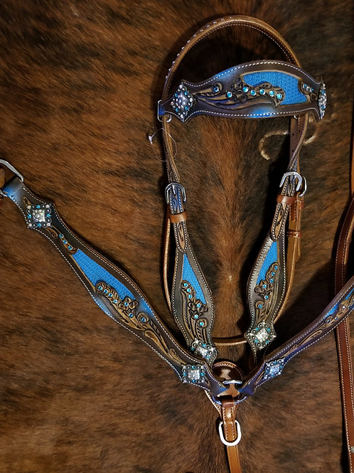 Blue Inlay Bridle Breast Collar Reins Blue Crystals