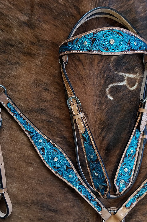 Teal Blue Bridle Breast Collar Crystal Bling