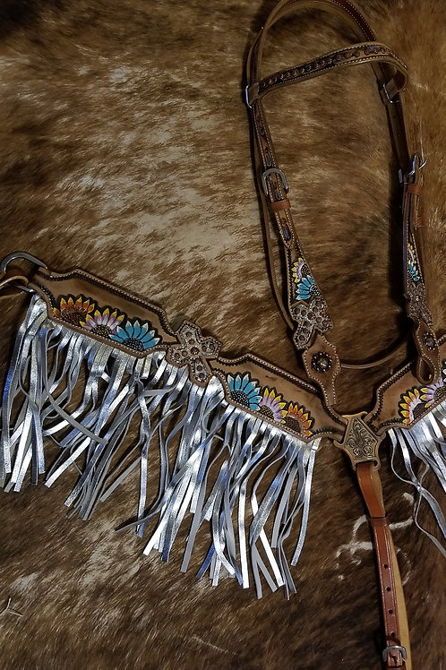 Shimmery Silver Fringe W Blue Yellow & White Sunflowers Bridle Breastcollar Rein