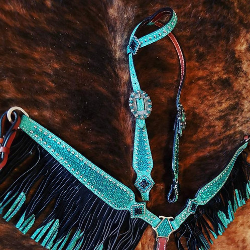 Turquoise / Teal Crystal Bridle Breast Collar Reins Set