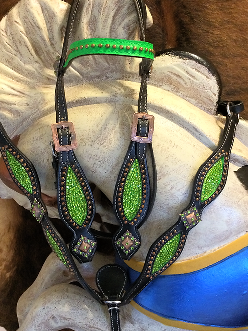 Lime Green Crystal Bling Bridle Breast Collar Reins Set