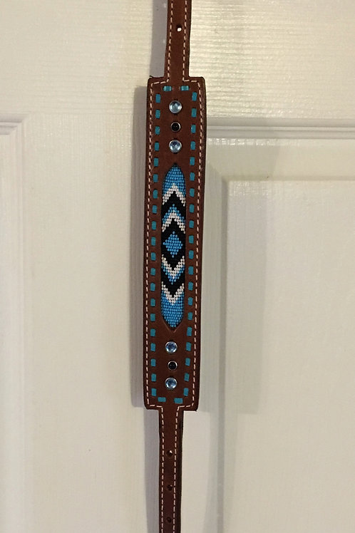 Blue Buckstitch Beaded Inlay Wither Strap