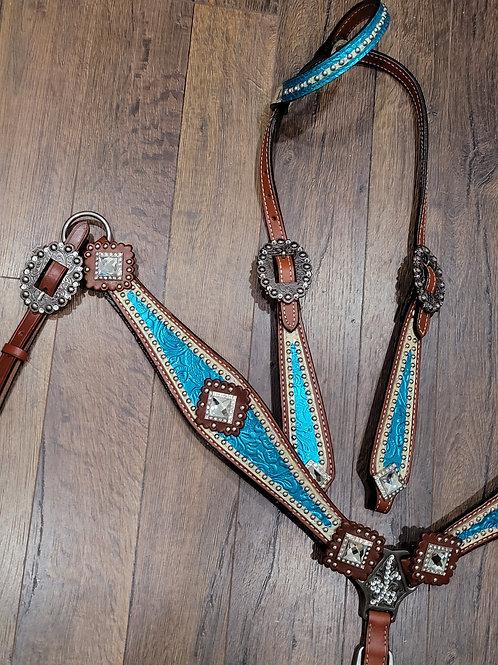 Teal Blue & White Bridle Breast Collar Reins Set Large Super Bling Conchos