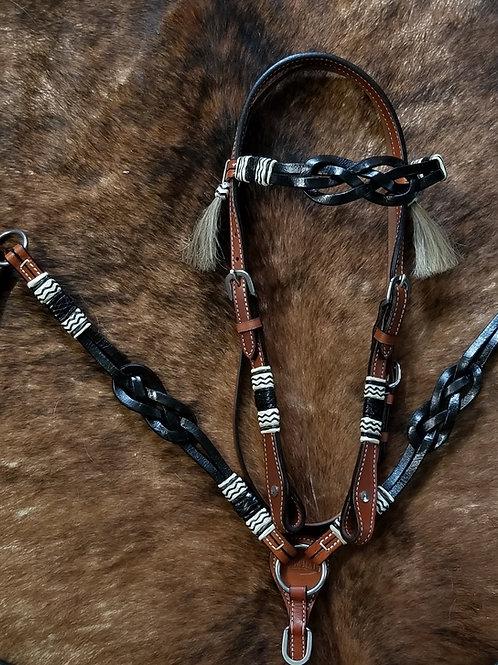 2 Tone Rawhide Celtic Knot Bridle Breast Collar Set
