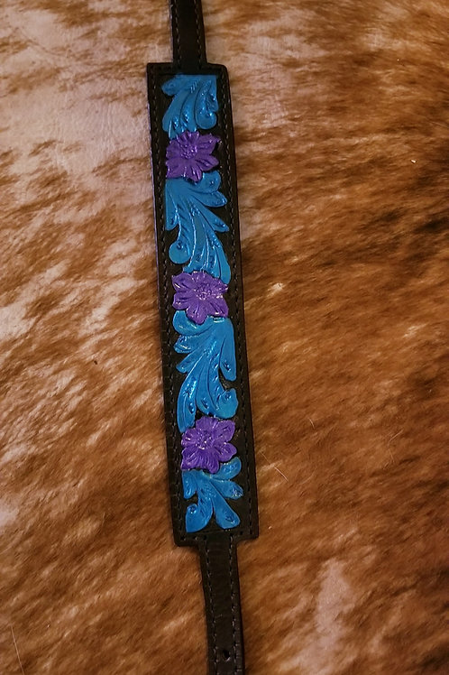 Black Leather Teal & Purple Accent Wither Strap