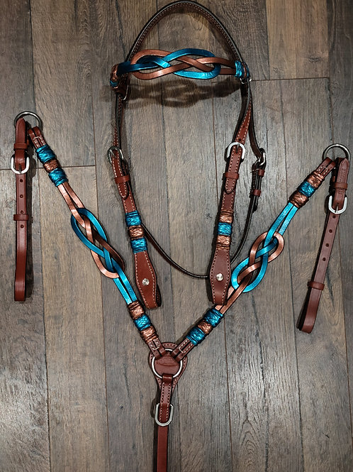 Teal & Copper Celtic Knot w Rawhide Accents Bridle Breast Collar & Reins Set