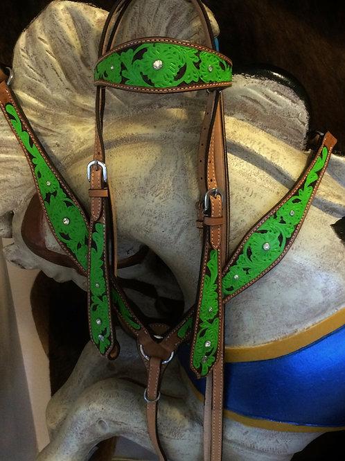 Lime Green Rim Set Crystal Bridle Breast Collar