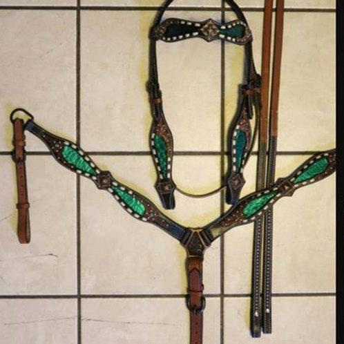 Metallic Green Alligator Inlay Buckstitch Bridle Breast Collar Set