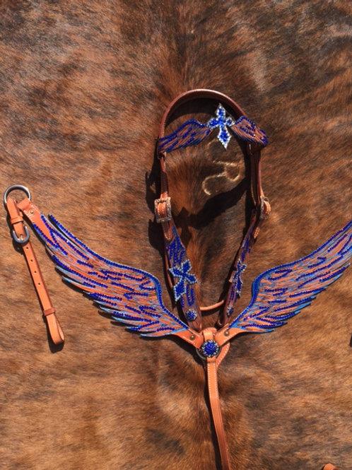 Blue Crystal Wings Bridle  Reins Set