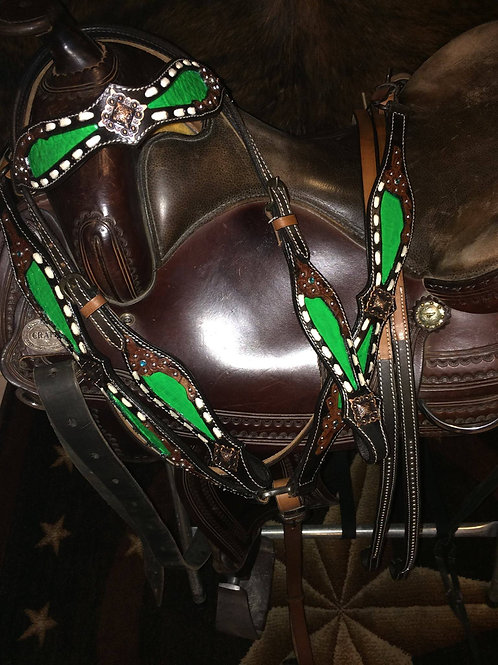 Lime Green Alligator Inlay  Buckstitch Bridle Breast Collar Set