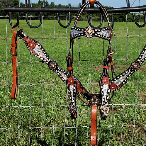 Full White Ice Crystal Bling Bridle Breast Collar Set