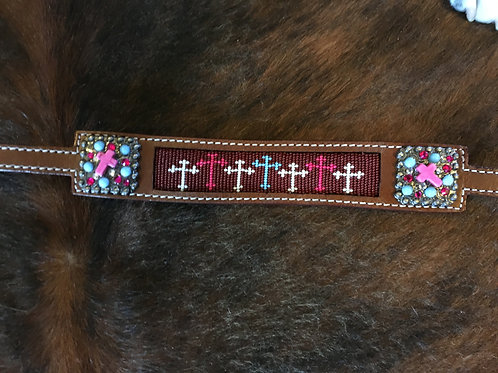 Beaded Cross Inlay Wither Strap