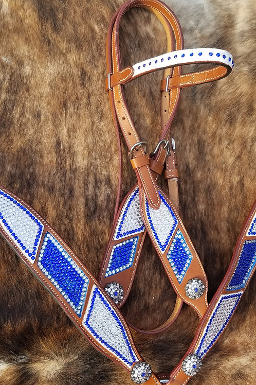 Blue & Clear Crystal Bling Bridle Breastcollar Reins Set