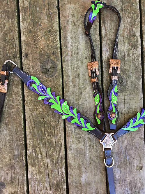 Lime & Purple Bridle Breast Collar Reins  Set