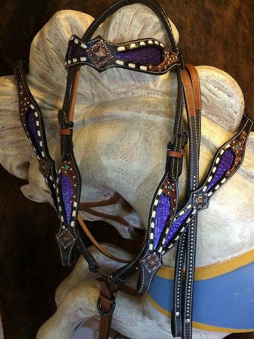 Purple Alligator Inlay w White Buckstitch Bridle Breast Collar Set