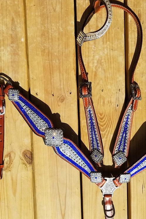 Blue & Clear Swarovski Crystal Bridle Breast Collar Reins Set