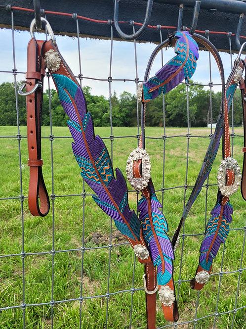 Teal & Purple Orange Feather Bridle Breastcollar Reins Set