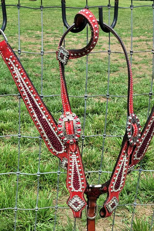 Red w Clear Swarovski Crystal Bridle Breast Collar Reins Set