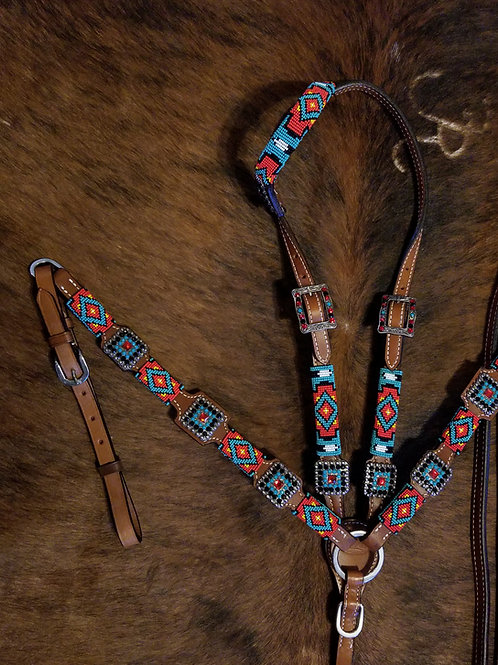 Turquoise Yellow Red Beaded Bridle Breast Collar Set w Matching Conchos