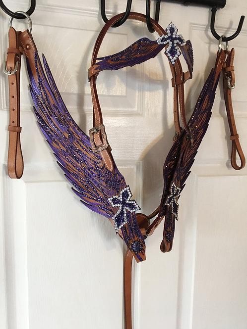 Purple Crystal Wings Bridle Reins