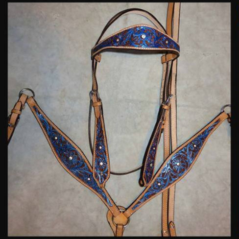 Tooled Blue Bridle Breast Collar Crystal Bling