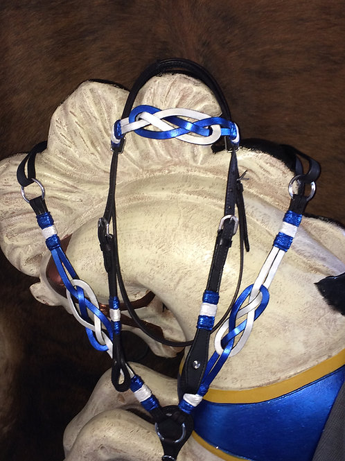 Blue & White on Black Celtic Knot Bridle Breast Collar Set