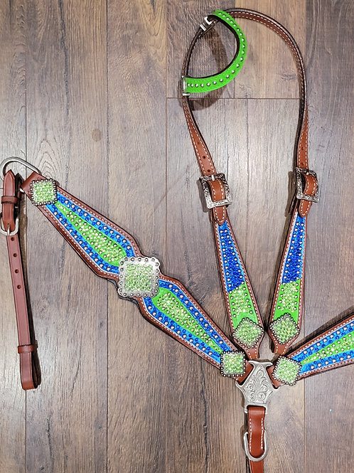Blue & Lime Green Crystal Bling Bridle Breast Collar Reins Set