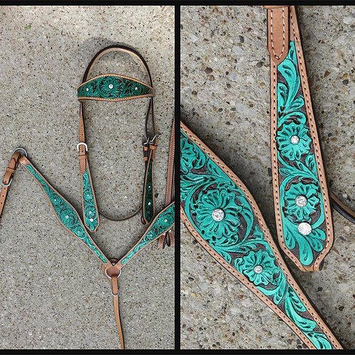 Tooled Green Bridle Breast Collar Crystal Bling