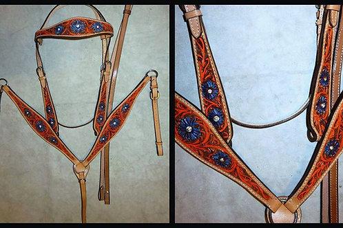 Orange w Blue Accent Bridle Breast Collar Reins