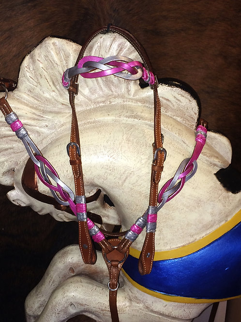 Pink & Silver Celtic Knot Bridle Breast Collar Set