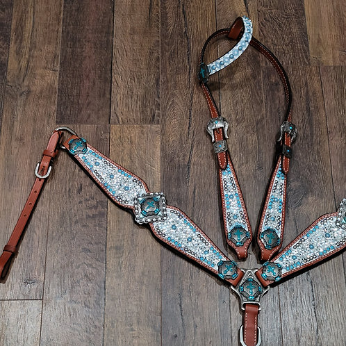 Clear Swarovski Crystal Turqoise Cross Concho Bridle Breastcollar Reins Set