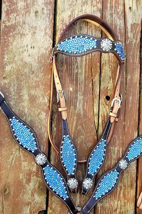 Light Blue Scalloped Crystal Bridle Breast Collar Set