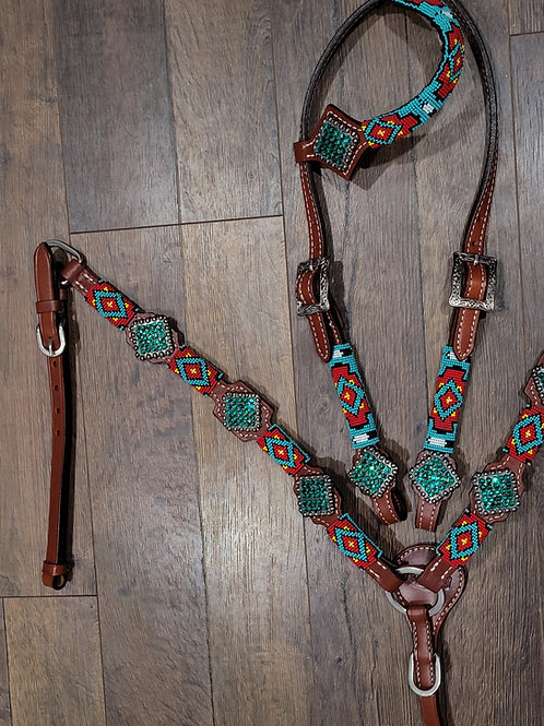 Turquoise Yellow Red Beaded Bridle Breast Collar Set Swarovski Crystal Conchos