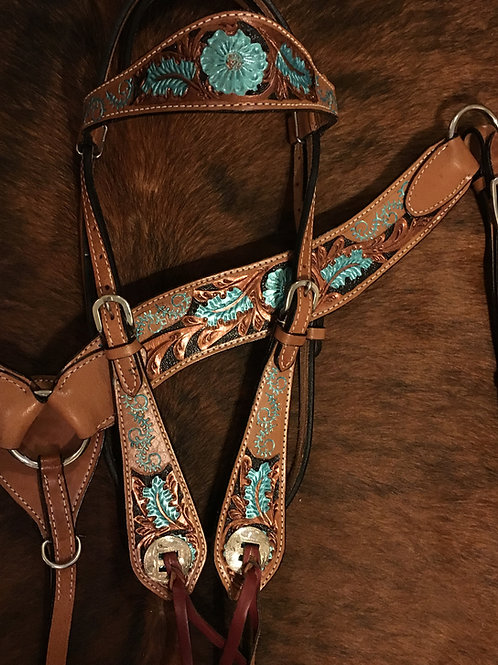 Turquoise & Copper W Silver Conchos Bridle Breast Collar Reins Set
