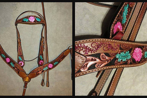 Copper Pink Turquoise Bridle Breast Collar Reins