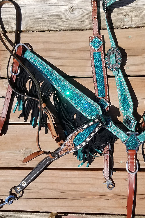 Turquoise / Teal Crystal Bridle Breast Collar Tie Down Wither Strap Reins Set