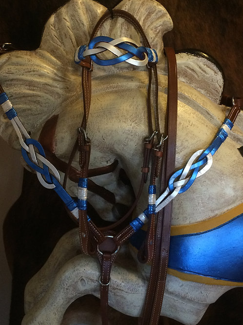 Blue & White Celtic Knot Bridle Breast Collar Rein